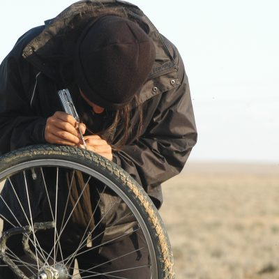 Removing stones from tires - Kazakhstan